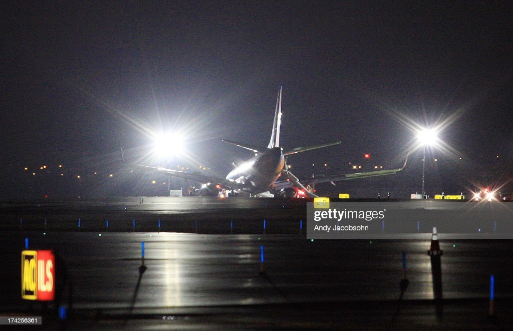 Southwest Airlines Flight 345 remains on runway 4 at LaGuardia Airport in the Queens borough of New York City. The flight, which originated in Nashville, landed at 5:45 p.m. and was carrying 149 passengers and crew. At least 10 people were injured.