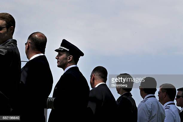 Southwest Airlines Pilots' Association representatives and pilots demonstrate outside Chicago Midway International Airport in Chicago Illinois US on...