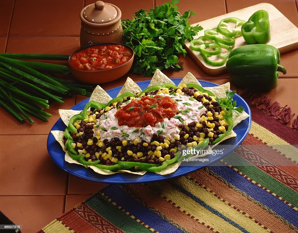 Southwestern layered dip with chips