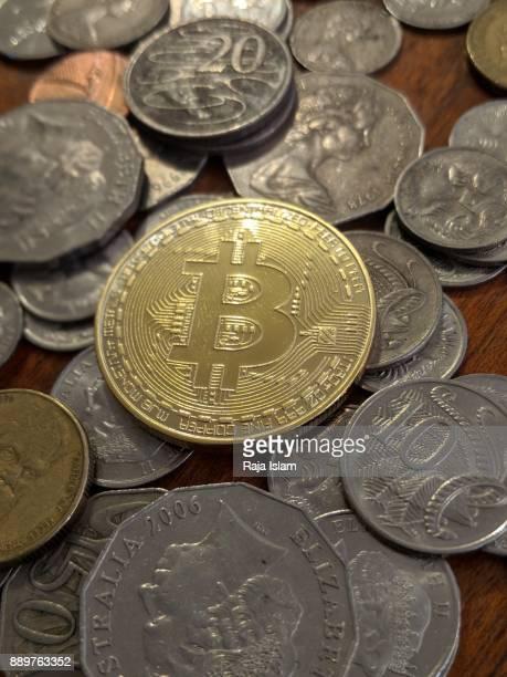 Souvenir bitcoin with Australian currency