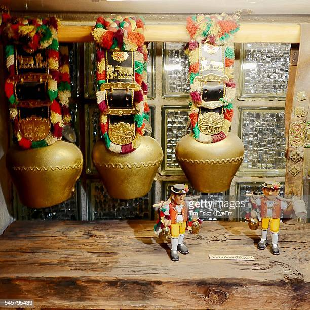 Souvenir Cow Bells Hanging In Store