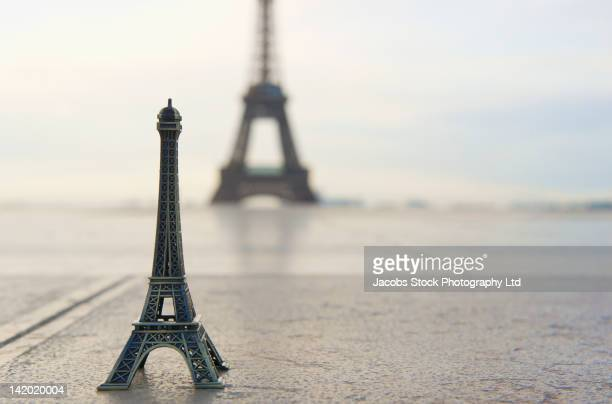 Souvenir Eiffel Tower near the actual Eiffel Tower