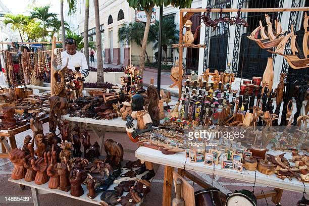 Souvenir handicrafts for sale at street market.