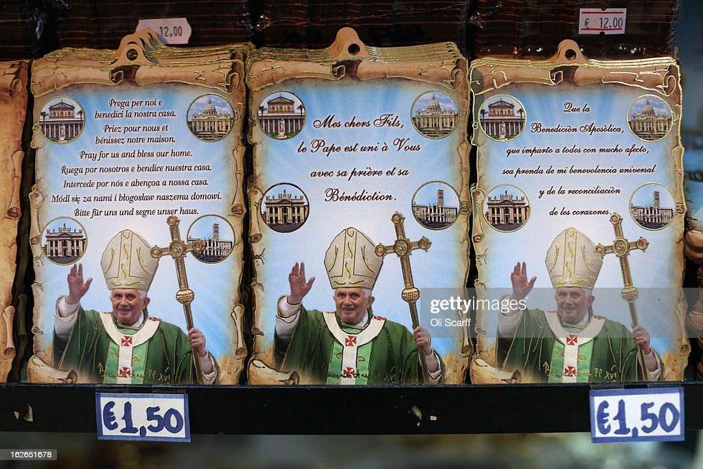 Souvenir photographs bearing the image of Pope Benedict XVI are displayed for sale on February 25, 2013 in Rome, Italy. The Pontiff will hold his last weekly public audience on February 27, 2013 before he retires the following day. Pope Benedict XVI has been the leader of the Catholic Church for eight years and is the first Pope to retire since 1415. He cites ailing health as his reason for retirement and will spend the rest of his life in solitude away from public engagements.