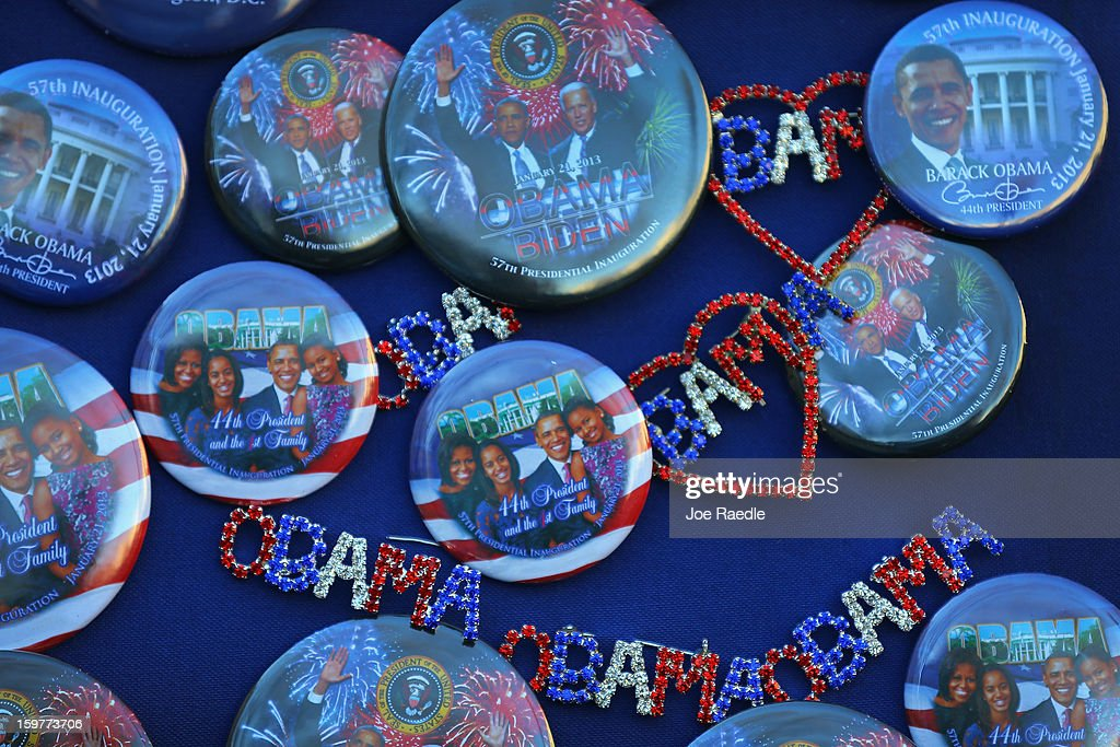 Souvenir pins are displayed for sale as preparations continue for the Presidential Inauguration on January 20, 2013 in Washington, DC. The U.S. capital is preparing for the second inauguration of U.S. President Barack Obama, which will take place on January 21.
