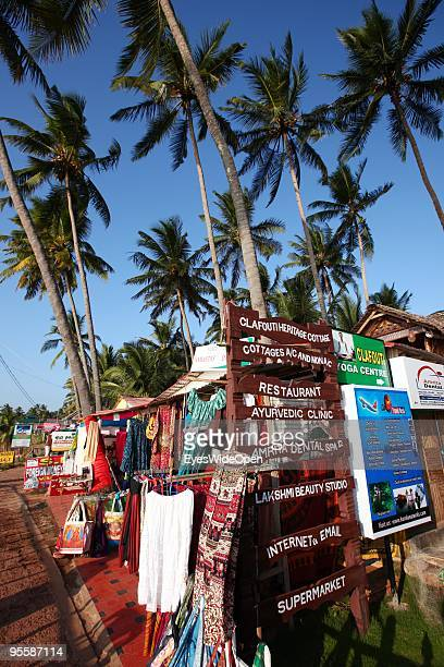 Souvenir shop at the Beach of Varkala on December 19 2009 in Varkala near Trivandrum Kerala India