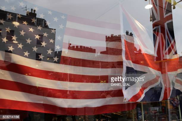 A souvenir shop decorated with the US and British Union Flag is seen before the visit by the US president Barack Obama and his wife US First Lady...