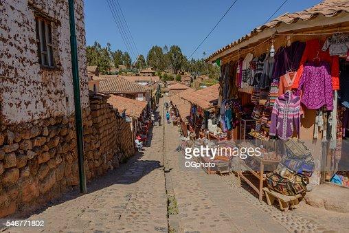 Souvenir shops along street at Chinchero, Peru : Stock Photo