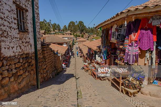 Souvenir shops along street at Chinchero, Peru