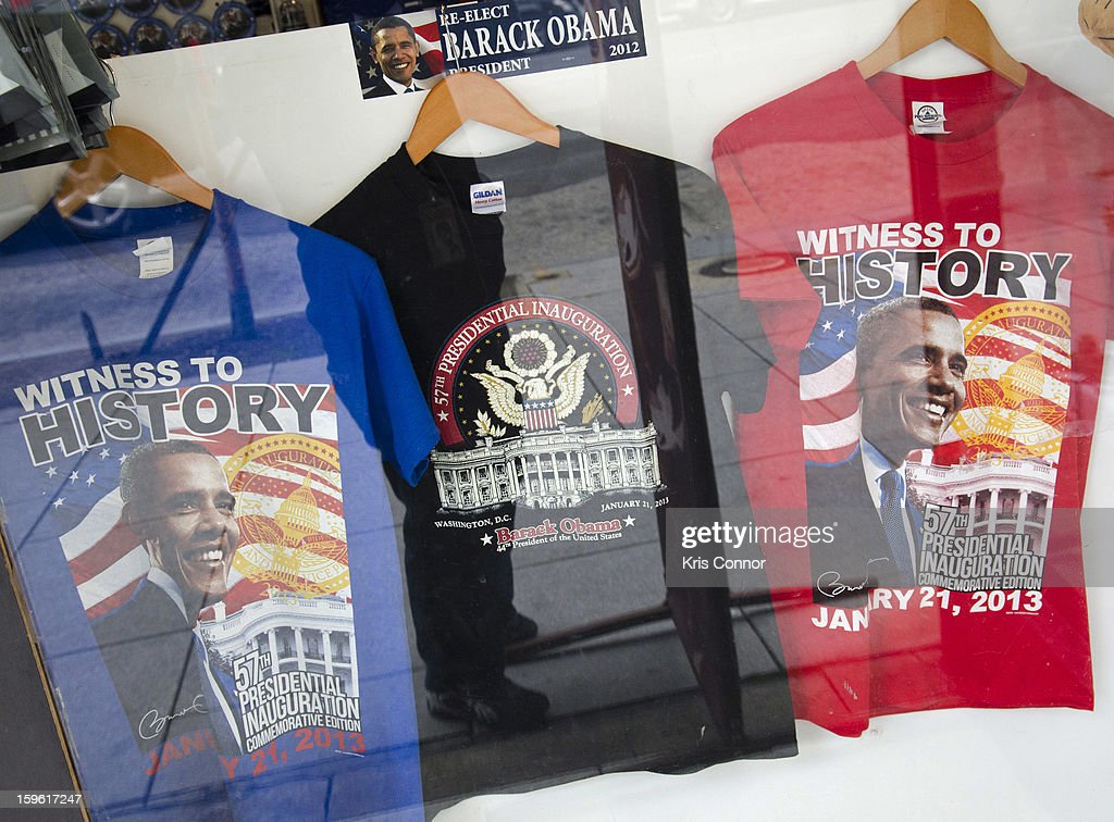 Souvenir shops have loaded their shelves with different presidential memorabilia in preparation for the upcoming inauration on January 17, 2013 in Washington, DC.
