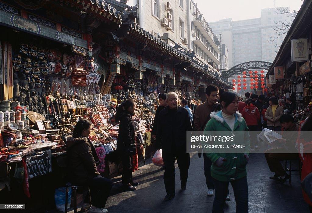 Souvenir stands in Wangfujing street Beijing China