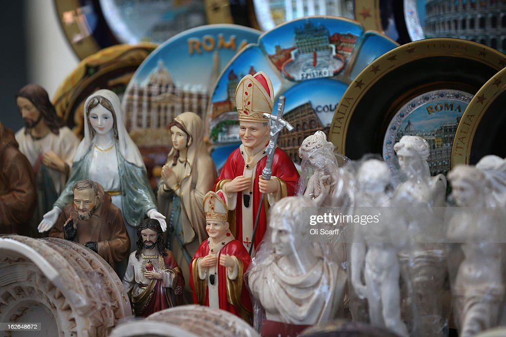 Souvenir statues depicting the Pope are displayed for sale on February 25, 2013 in Rome, Italy. The Pontiff will hold his last weekly public audience on February 27, 2013 before he retires the following day. Pope Benedict XVI has been the leader of the Catholic Church for eight years and is the first Pope to retire since 1415. He cites ailing health as his reason for retirement and will spend the rest of his life in solitude away from public engagements.