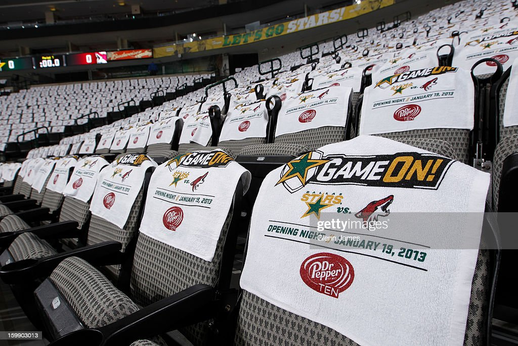 Souvenir towels await each fan prior to the opening night game between the Dallas Stars and the Phoenix Coyotes at the American Airlines Center on January 19, 2013 in Dallas, Texas.