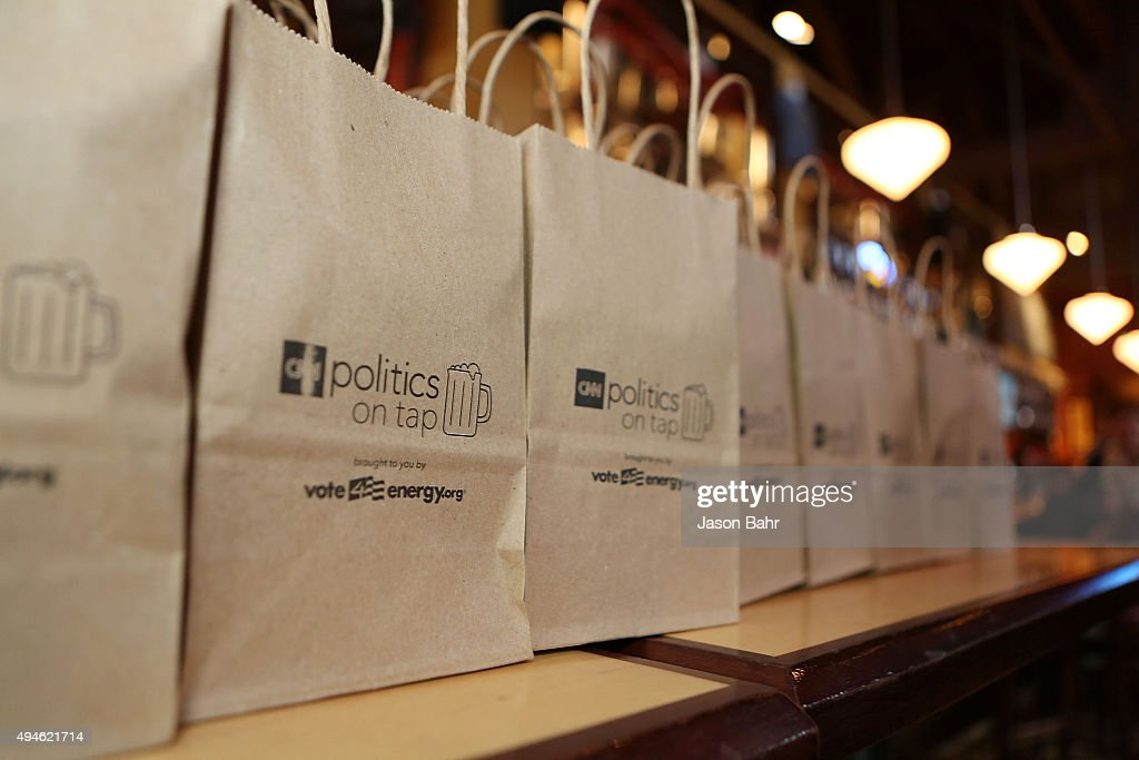 Souvenirs are lined up in anticipation for guests to arrive to CNN's Politics On Tap at Walnut Brewery on October 27, 2015 in Boulder, Colorado. 25763_001