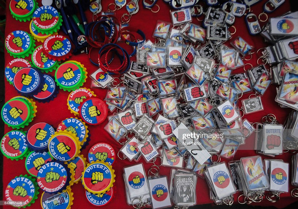 Souvenirs bearing the name of Philippine President Rodrigo Duterte are sold on Thursday, 30 June 2016, in Manila, Philippines.