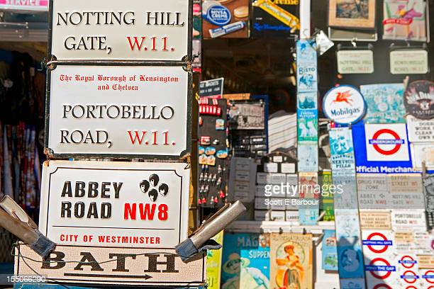 Souvenirs for sale in market at Portobello Road