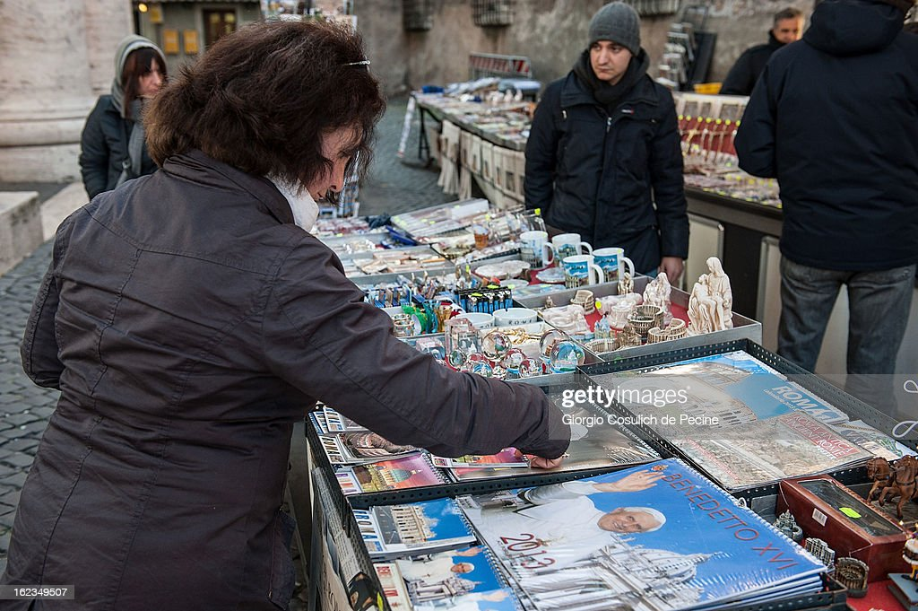 Souvenirs of Pope Benedict XVI are displayed in a souvenir stall outside St. Peters' Square on February 19, 2013 in Vatican City, Vatican. Pope Benedict XVI will hold his last weekly public audience on February 27 at St Peter's Square after announcing his resignation earlier last week.