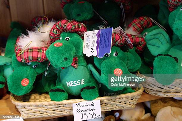 Souvenirs of the Loch Ness Monster on sale in a gift shop in the village of Drumnadrochit