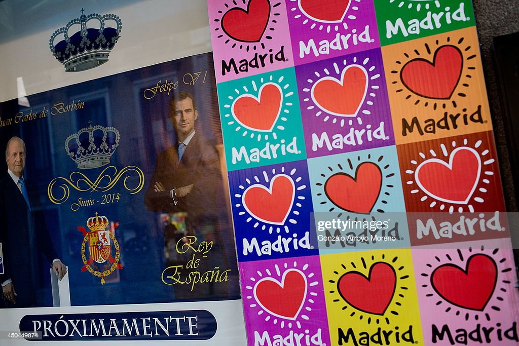 A Souvenirs shop announces future Prince Felipe coronation souvenirs on sale on June 11, 2014 in Madrid, Spain. Prince Felipe of Spain will be crowned <a gi-track='captionPersonalityLinkClicked' href=/galleries/search?phrase=Felipe+VI+of+Spain&family=editorial&specificpeople=4881076 ng-click='$event.stopPropagation()'>Felipe VI of Spain</a> on the 19th of June after his father King Juan Carlos of Spain abdicated on June 2,