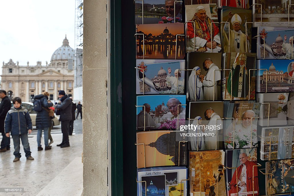 Souvenirs showing Pope Benedict XVI and Pope John Paul II are displayed in a shop near the Vatican after it was announced that Pope Benedict XVI will resign on February 11, 2013. Pope Benedict XVI on February 11, 2013 announced he will resign on February 28, a Vatican spokesman told AFP, which will make him the first pope to do so in centuries.