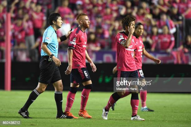 Souza of Cerezo Osaka urged by referee Tomohiro Inoue to receive medical treatment after breeding during the JLeague J1 match between Cerezo Osaka...