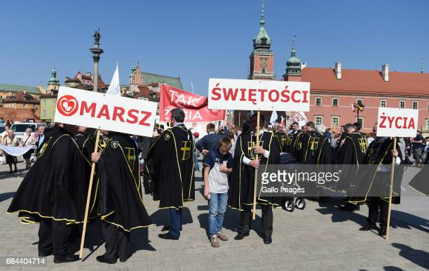Sovereign Military Order of Malta members participate in the Marsz Swietosci Zycia on April 02 2017 in Warsaw Poland The march organized by the...