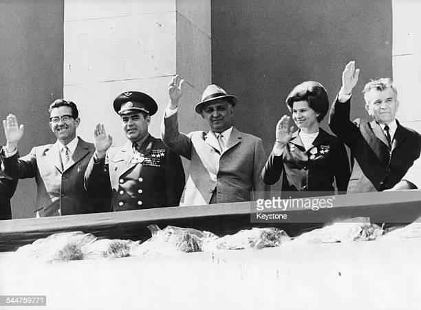 Soviet and Bulgarian politicians waving from a balcony Stanko Todorov Andrian Nikolayev Todor Zhivkov Valentina NikolayevaTereshkova and Georgi...