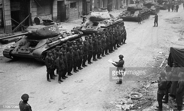 A soviet armored division receiving operational orders prior to the final battle in berlin germany march 1945