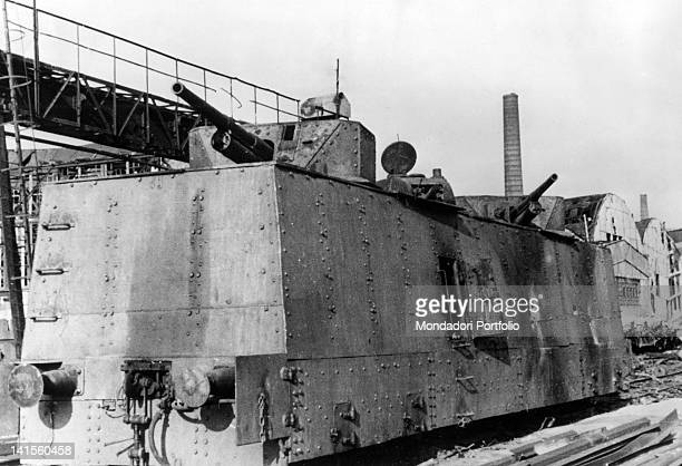 A Soviet armoured wagon hit during Kerch's battle Ukraine May 1942