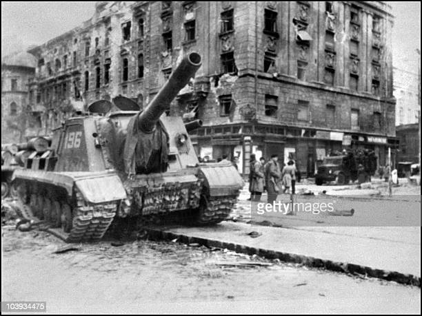 A Soviet army tank takes position in Budapest 12 November 1956 The Red Army stationed in Hungary under the 1947 peace treaty attacked and seized 12...