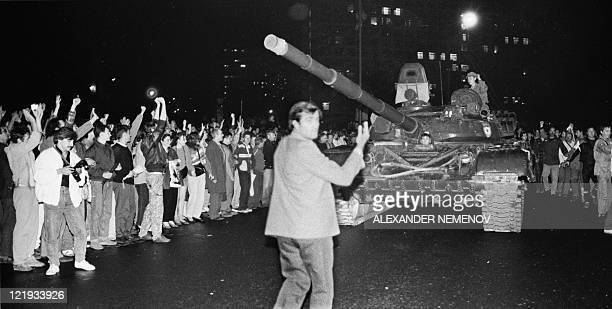 Soviet Army tanks drive towards the Russian White House in central Moscow early on August 20 1991 Russia marks on August 1922 the 20th anniversary of...
