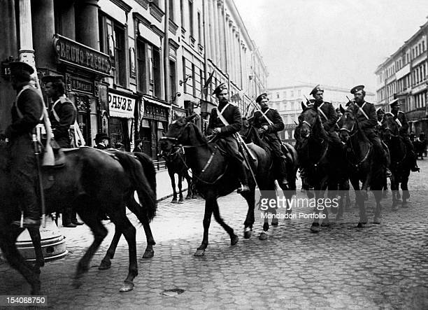 Soviet cavalry unit passing through the street of a city on the Russian front during World War I 1910s