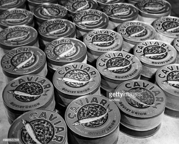 Soviet Caviar production Tins of pressed caviar from the Kirov fishery in Azerbaijan ready for export August 1947