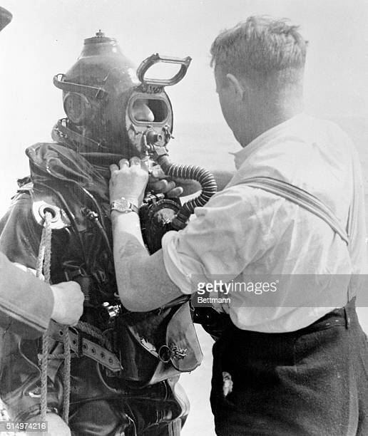 Soviet charges frogman spied on ships Portsmouth British commander Lionel Crabb shown here as he was being readied to investigate an object in the...