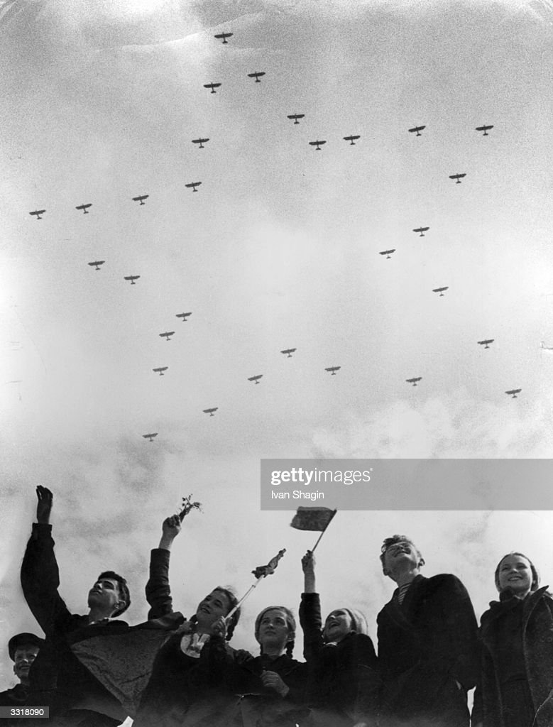 Soviet citizens celebrate Aviation Day in Tushino, Moscow.