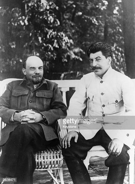 Soviet Communist leader Joseph Stalin right with Soviet leader Vladimir Ilyich Lenin in Gorky