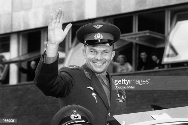Soviet cosmonaut and the first man to travel in space Yury Alekseyvich Gagarin arriving in London for a Russian trade fair
