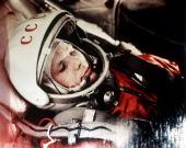 Soviet cosmonaut yuri gagarin first man in space in the capsule of vostok 1 april 12 1961