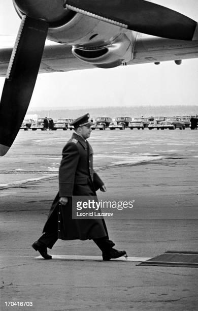 Soviet cosmonaut Yuri Gagarin on the Vnukovo airfield Moscow April 14 1961