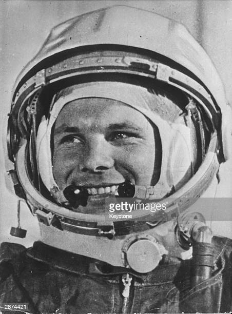 Soviet cosmonaut Yuri Gagarin wearing his helmet for the first ever manned flight in space