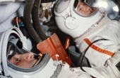 Soviet cosmonauts alexey leonov and pavel belyayev in the cabin of the voskhod 2 spacecraft prior to takeoff 1965