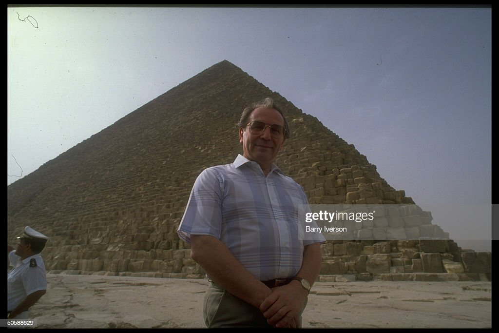 Soviet For. Min. Aleksandr Bessmertnykh visiting pyramids while on diplomatic mission re Arab-Israeli peace conf. initiative.