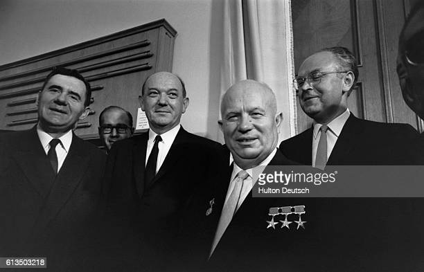Soviet Foreign Minister Andrei Gromyko Dean Rusk and Soviet Premier Nikita Khrushchev during the signing of the Nuclear Test Ban Treaty in the Soviet...