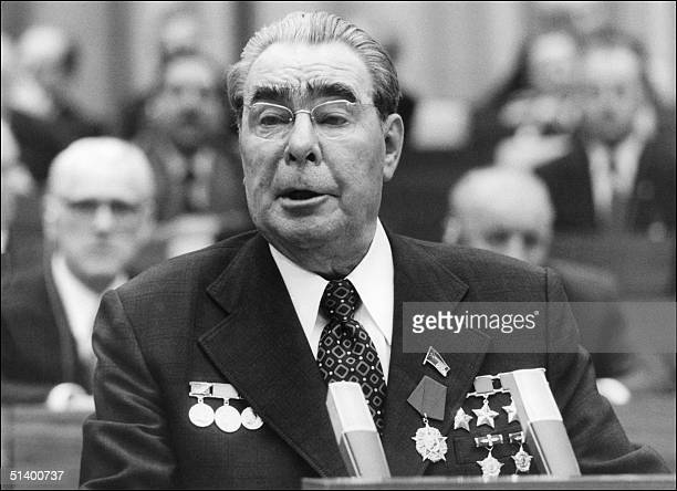 Soviet leader and general secretary of the Communist Party Leonid Brezhnev addresses the East German communists 06 October 1979 in East Berlin during...