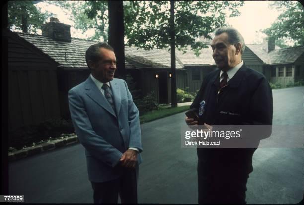 Soviet leader Leonid Brezhnev stands with President Richard Nixon June 20 1973 at Camp David MD Brezhnev met with members of the US Senate Foreign...