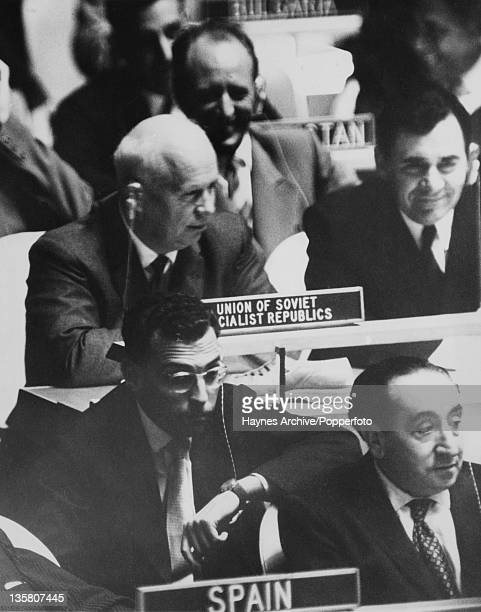 Soviet leader Nikita Khrushchev and Foreign Minister Andrei Gromyko attend the 902nd Plenary Meeting of the United Nations General Assembly in New...