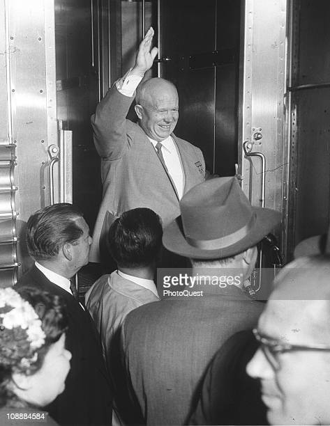 Soviet leader Nikita Khrushchev waves from a train while on a state visit to the United States September 17 1959