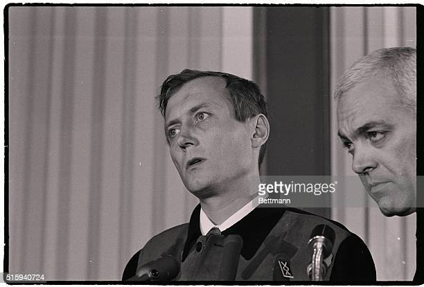 Soviet poet Yevgeny Yevtushenko appears to be deep in thought at a farewell news confrence at Queens college The Soviet poet concluded a nationwide...
