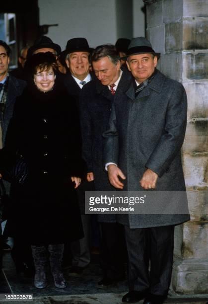 Soviet Politburo member Mikhail Gorbachev with his wife Raisa Gorbachova in Edinburgh during an official visit to the UK 21st December 1984 Gorbachev...