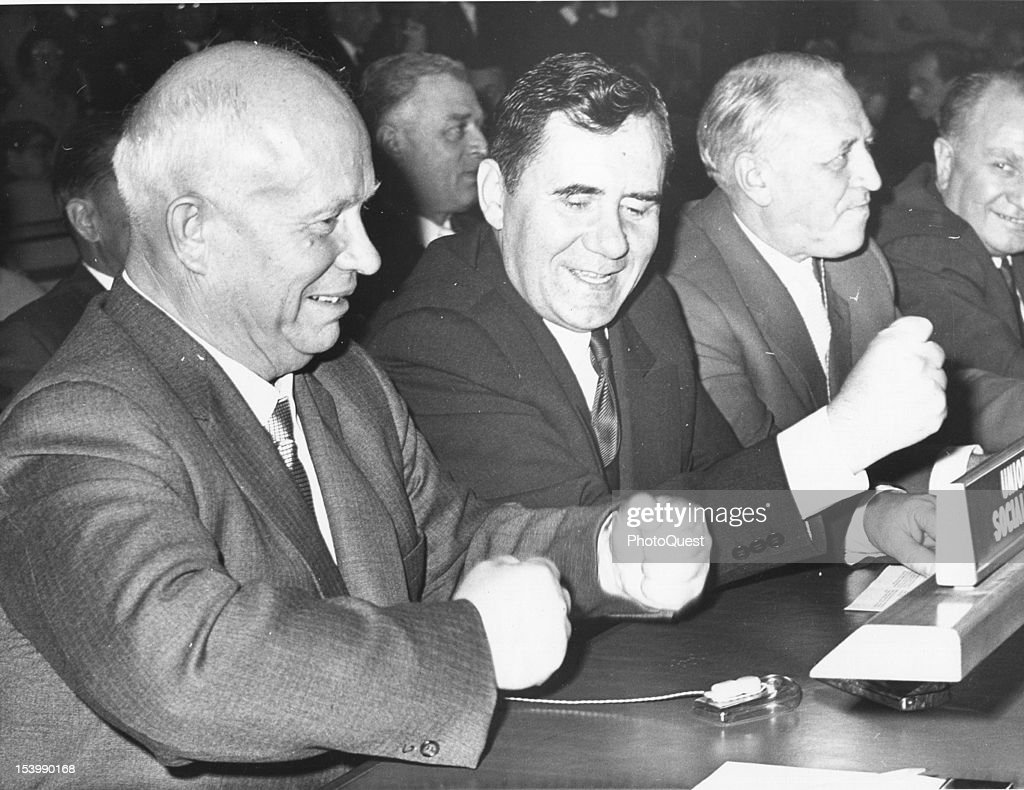 Soviet politician Premier Nikita S. Khrushchev (1894 - 1971) (left) and Soviet Minister of Foreign Affairs Andrei A. Gromyko (1909 - 1989) (second left) bang the table in front of them during the start of the 15th General Assembly of the United Nations, New York, New York, October 13, 1960.
